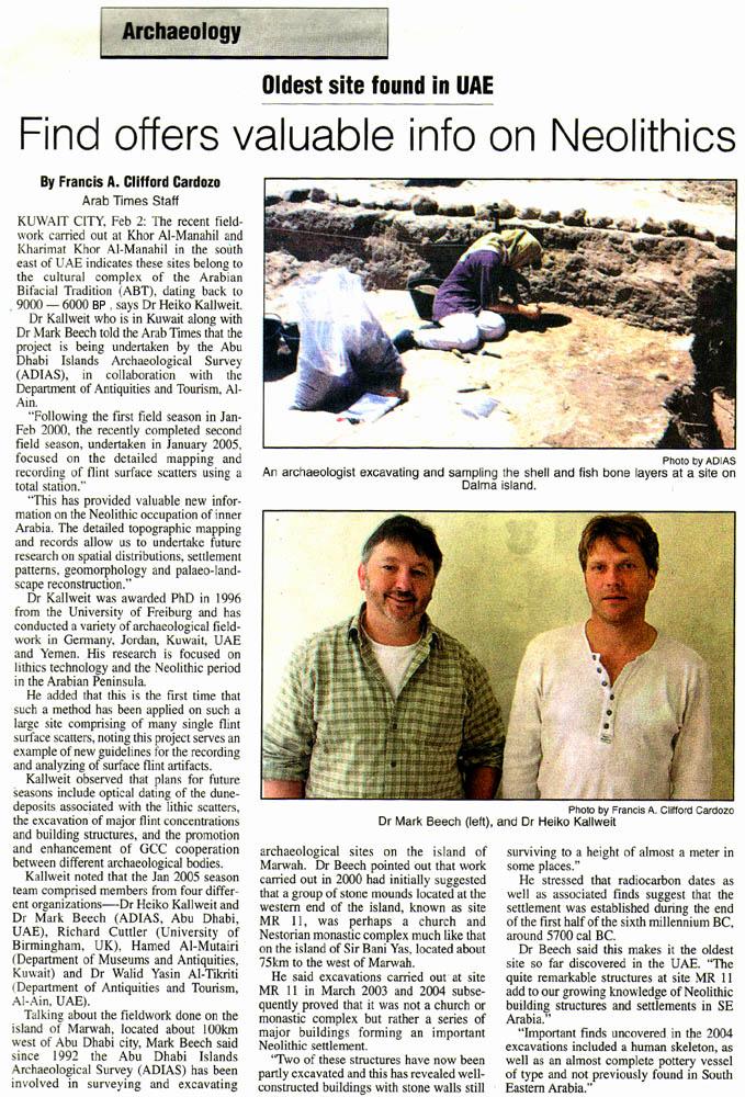 Arab Times (Kuwait), 3 February 2005