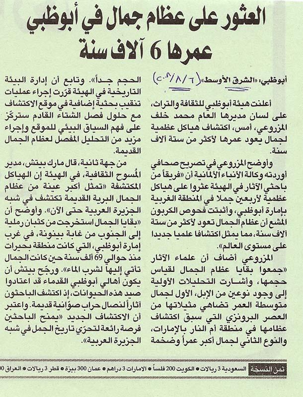 Asharq Al Awsat (arabic), 6 August 2008